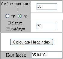 Hitzeindex online berechnen
