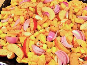 Herbstblech mit Kürbis und Maronen Zubereitung
