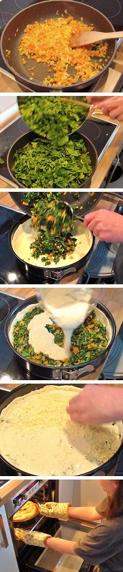 Spinat-Meerrettich-Quiche Zubereitung