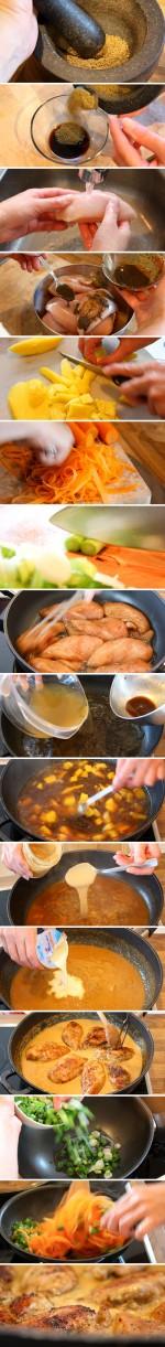 Anis-Hühnchen in Erdnusssoße mit Karotten-Bandnudeln - Zubereitung